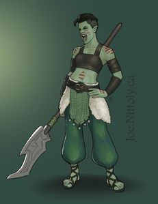 "Name: Rasanar Age: 28 in human years Gender: ""Orcs from where I'm from don't really have gender"
