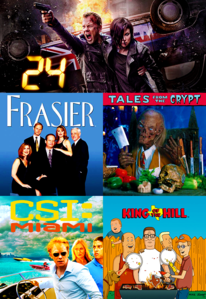 [b]Day 01: TV Shows[/b] 1. 24 (it will always be top) 2. Frasier 3. Tales from the Crypt 4. CSI:
