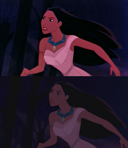 Click on the image to see it in full size. Pocahontas running toward Kocoum: