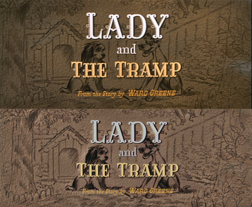 Click on the image to see it in full size. Lady and the Tramp Название Card: