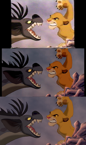 Click on the image for full size. Shenzi vs. Simba: