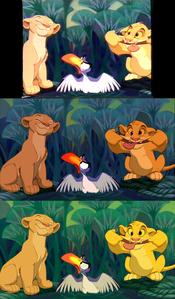 Click on the image to see it in full size. Nala, Zazu & Simba: