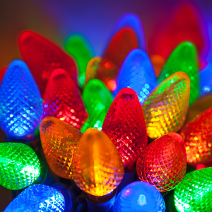 Even though they aren't the traditional colors, I always use multi-color lights for my decorations. I