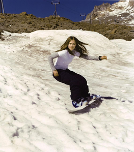 snowboarding :) i want avril in a long dress