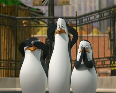 *Skipper sees no evil, Kowalski hears no evil, and Private speaks no evil* (XD)