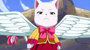she's a flying cat but she has white hair  Charle from Fairy Tail