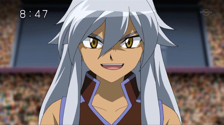 Tsubasa from Beyblade. His hair is more gray than white, but I still consider him a white-haired char