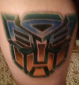 So, does anyone else have them? I have the Autobots insignia on my left thigh and the Decepticons ins