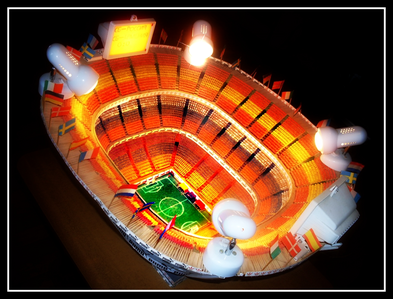 "We present to u the exclusive handmade work , the miniature of stadion ""Santiago Bernabeo"" of Madri"