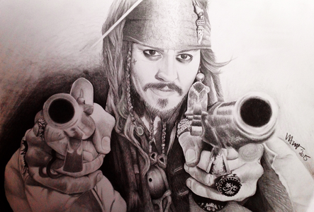 Hi Guys, Artist here, just complete a portrait of Johnny Depp as Captain Jack Sparrow, Pirates of the