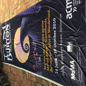 I have this pretty massive (4m+ x 1.7m) banner from a Tim burton exhibition here in Australia. Anybod