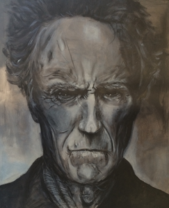 Hello there everyone. A few months ago my son painted a Clint Eastwood portrait on canvas for his art