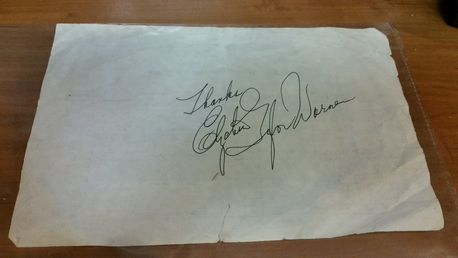 I have an authentic rare autograph of Elizabeth Taylor, signed Elizabeth Taylor Warner, from when she