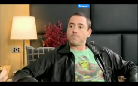 Hi guys, I really like the t-shirt worn door Downey here. He wore it in one of his interviews during t