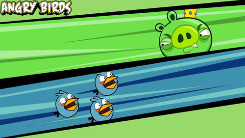 Angry Birds wallpaper with a treasure chest titled Blue Birds VS King Pig
