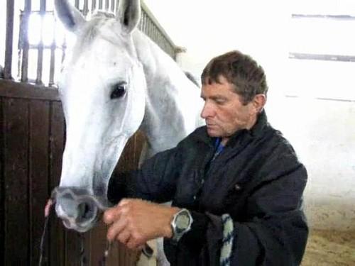 Josef Vana and white horse 2009