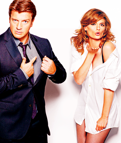 Nathan Fillion & Stana Katic wallpaper containing a well dressed person, a business suit, and a suit called Nathan&Stana