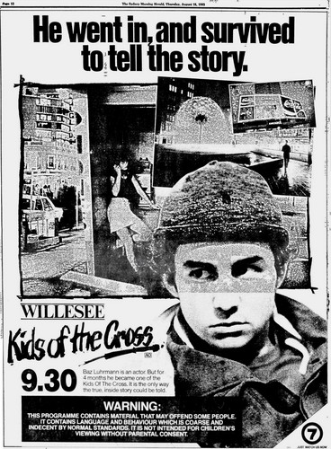 Newspaper ad featuring Baz Luhrmann (1983)