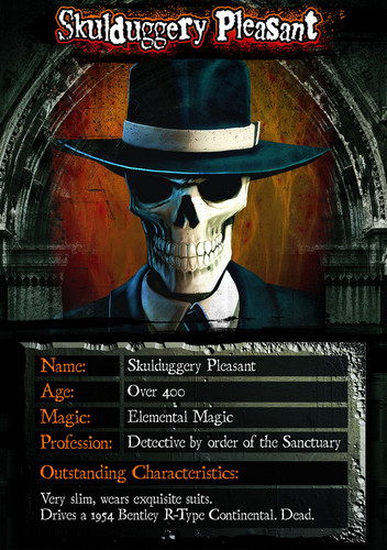 Skulduggery Pleasant karatasi la kupamba ukuta containing a fedora and anime entitled Skulduggery Card