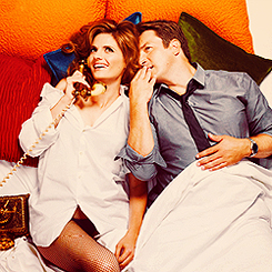Caskett wallpaper with a boater and a fedora entitled Stana and Nathan photoshoot