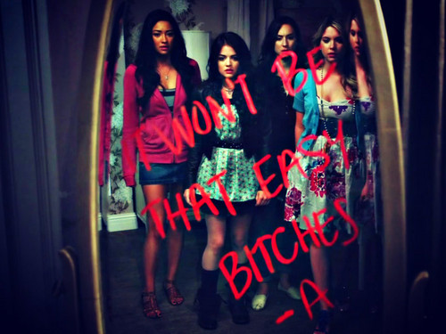 Pretty Little Liars TV دکھائیں پیپر وال probably with a sign titled ~PrettyLittleLiars~
