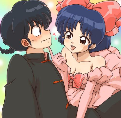 乱あ ranma and akane ...ranma blushing