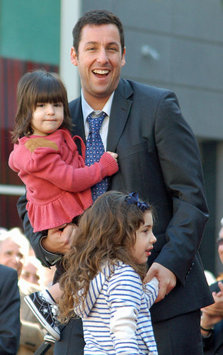 Adam Sandler wallpaper containing a business suit called Adam with daughters