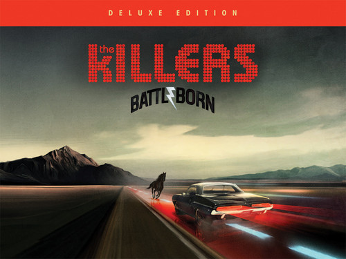 The Killers fond d'écran possibly with a chaussée and a sign titled Battle Born CD booklet