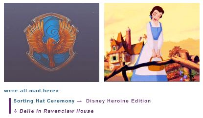 Belle is in Ravenclaw House