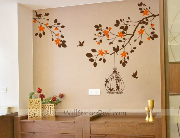 Branches and вишня Blossom with Birdcage Birds Стена Sticker