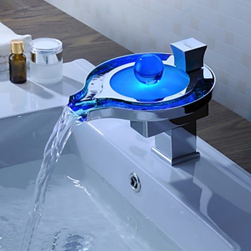 Faucets images color changing led waterfall bathroom sink for Robinet mural cascade