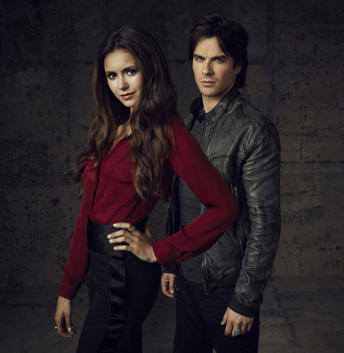 Damon & Elena wallpaper containing a well dressed person and an outerwear entitled Damon/Elena <3