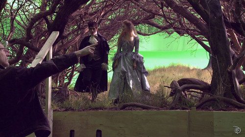 Tim Burton's Dark Shadows wallpaper with a fountain entitled Dark Shadows behind the scenes