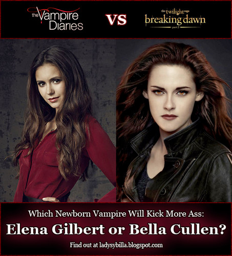 The Vampire Diaries wallpaper with Anime entitled Elena Gilbert vs. Bella Cullen