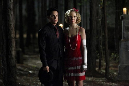 The Vampire Diaries Couples wallpaper possibly with a well dressed person and a street called Forwood