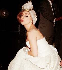 Gaga wearing a wedding dress in London