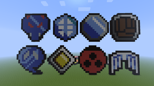 Minecraft Pixel Art! karatasi la kupamba ukuta entitled Gym Badges 2!