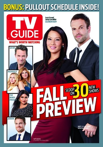 Sherlock & Joan karatasi la kupamba ukuta probably containing anime titled Jonny Lee Miller & Lucy Liu TV Guide Magazine Fall Preview