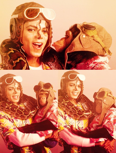 Michael Jackson and his pet the chimp Bubbles Jackson ♥♥