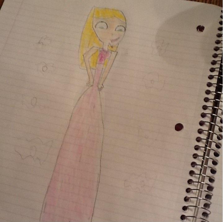 My free-hand sketch of Dakota's prom dress...