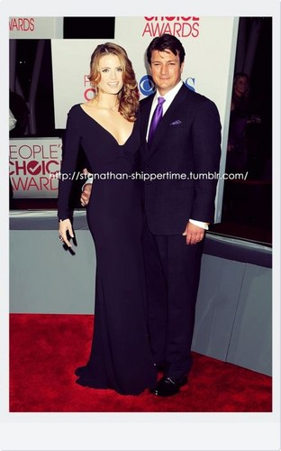 Nathan Fillion & Stana Katic achtergrond with a business suit titled Nathan Fillion & Stana Katic