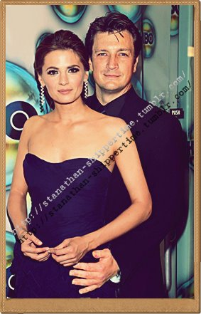 Nathan Fillion & Stana Katic wallpaper possibly containing attractiveness and a portrait titled Nathan Fillion & Stana Katic