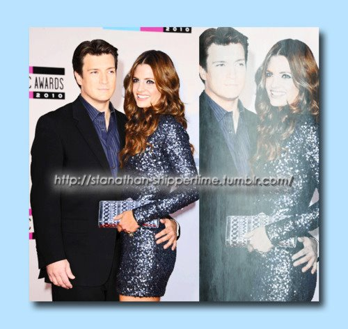 Nathan Fillion & Stana Katic karatasi la kupamba ukuta probably with a well dressed person and a sign called Nathan Fillion & Stana Katic