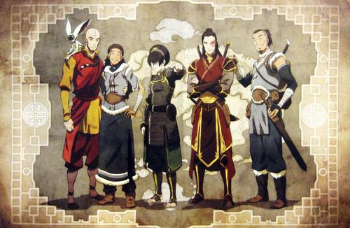 Avatar: The Last Airbender wallpaper possibly containing a surcoat and a anggota orkes, bandsman titled Older Gaang