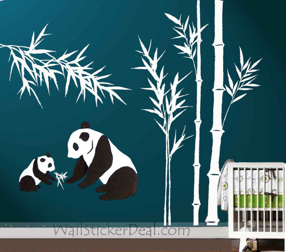 Panda Fed Kid With Bamboo muro Sticker