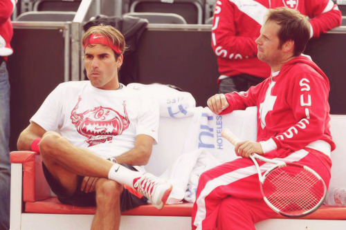 Roger training with Wawrinka