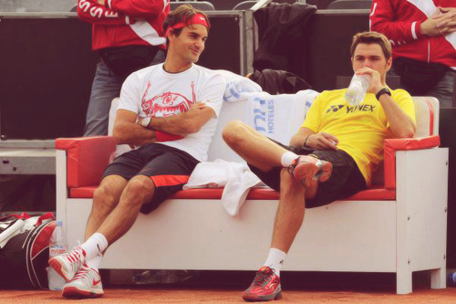 Roger Federer Roger training with Wawrinka
