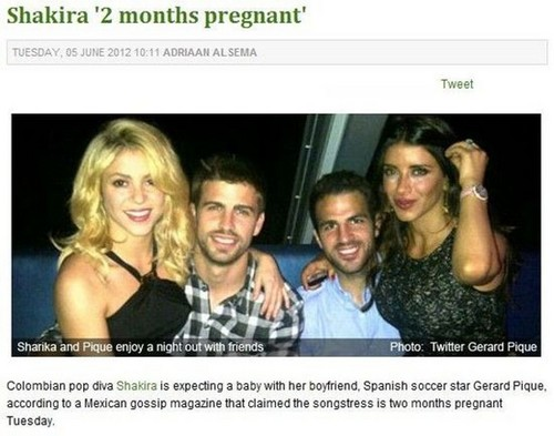 Shakira is expecting a baby with Gerard Pique