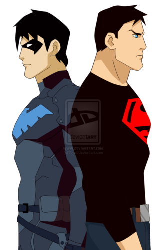 ヤング・ジャスティス 壁紙 probably containing アニメ called Superboy and Nightwing