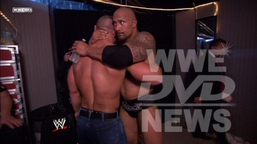 The Rock and John Cena backstage at Wrestlemania
